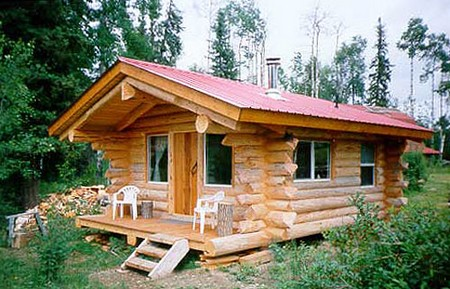 Log Cabin. To further support the structure, fit the supports by running